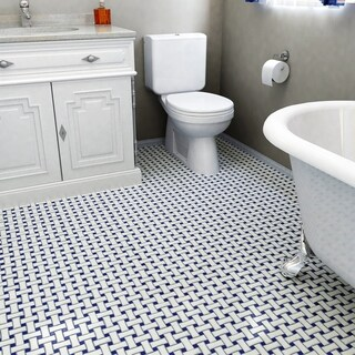 SomerTile 10.5x10.5-inch Victorian Basket Weave White/Cobalt Porcelain Mosaic Tile (Pack of 10)