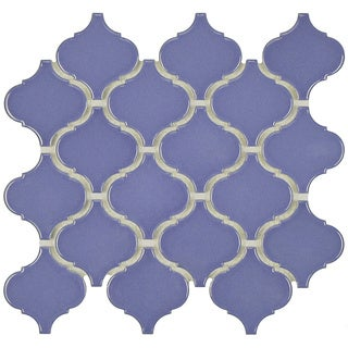 SomerTile 9.75x10.75-inch Victorian Morocco Glossy Blue Porcelain MosaicTile (Pack of 10)