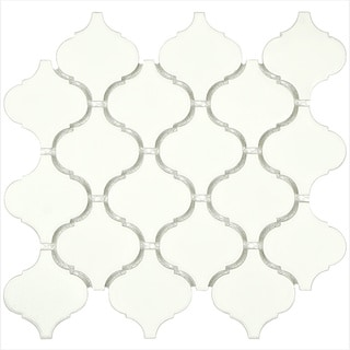SomerTile 9.75x10.75-inch Victorian Morocco Matte White Porcelain Mosaic Tile (Pack of 10)