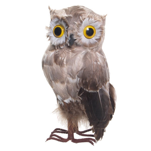 Sage & Co. Hand-crafted Feathered Owl (Pack of 2)