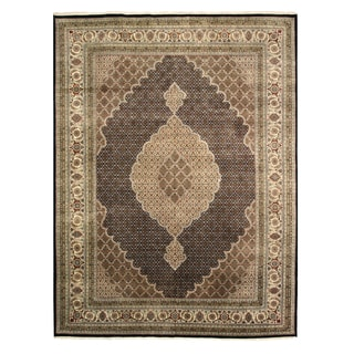 EORC Black Hand-knotted Wool and Silk Tabriz Mahi Rug (9' x 12')