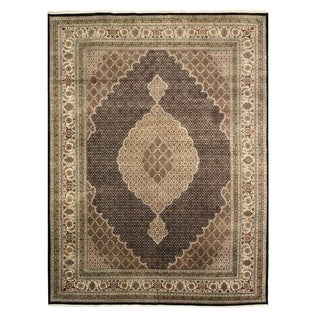 EORC Black Hand-knotted Wool and Silk Tabriz Mahi Rug (4' x 6')