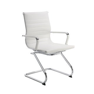 Pantera Metal and White Leather Guest Chair