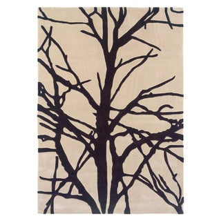 Linon Trio Collection Black/ Tan Tree Silhouette Modern Area Rug