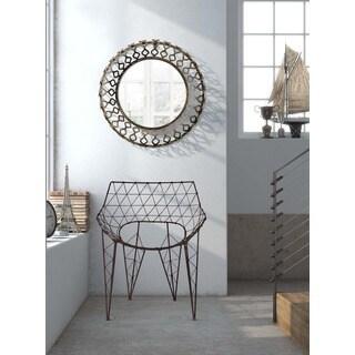 Bass Rusted Metal Frame Circular Mirror