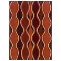 Linon Rust and Grey Geometric Glass Motif Transitional Area Rug (5' x 7')