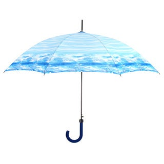 Leighton Blue Geometric Border Print Fashion Umbrella