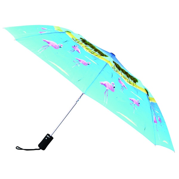 Leighton Tropical Flamingo Print 43-inch Umbrella
