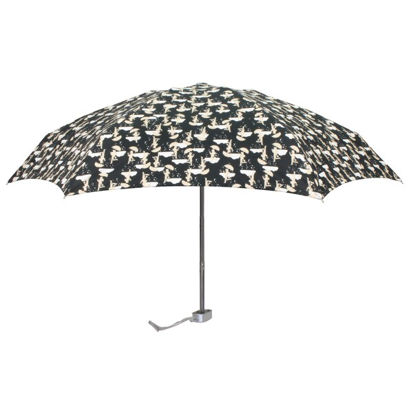 Leighton 'Genie' Black and White Printed Manual Compact Umbrella