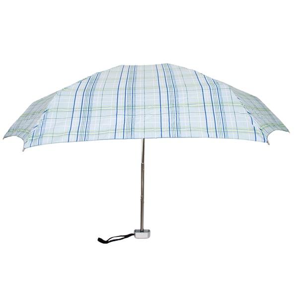 Leighton 'Genie' Blue Plaid Printed Manual Compact Umbrella