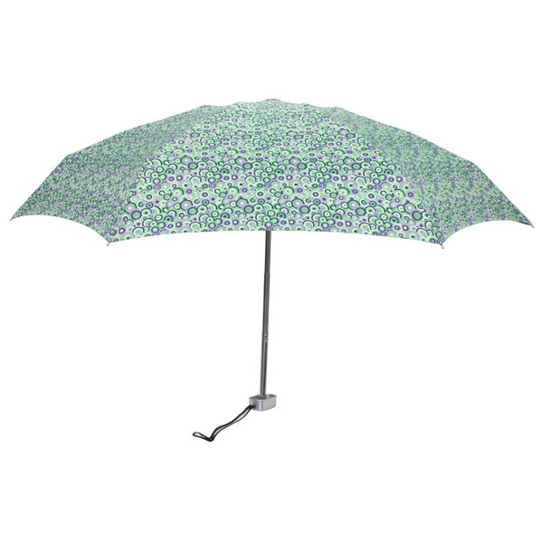 Leighton 'Genie' Green/ Purple Print Manual Compact Umbrella