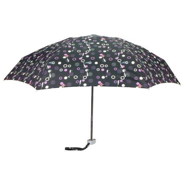 Leighton 'Genie II' Black Cat Print Manual Compact Umbrella