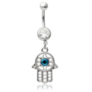 Misbehave Stainless Steel Cubic Hamsa Hand Belly Ring