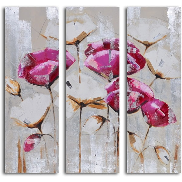 Hand-painted 'Pink and White Poppy Triptych' Canvas Wall Art