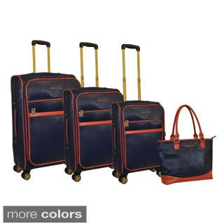 Adrienne Vittadini Saffiano 4-piece 8-wheel Spinner Luggage Set