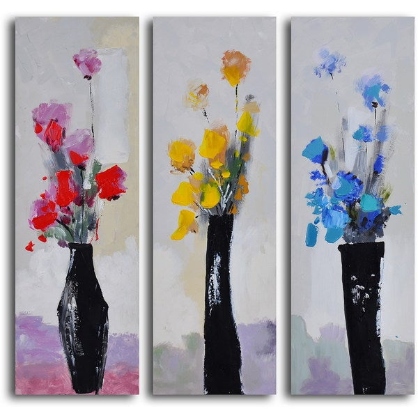 "Hand Painted ""Trio of Primary Blooms"" Canvas Wall Art"