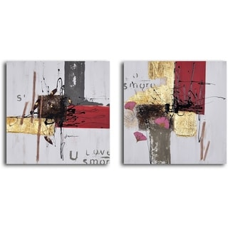 """Hand Painted """"Blocks of Abstract Love"""" Canvas Wall Art"""