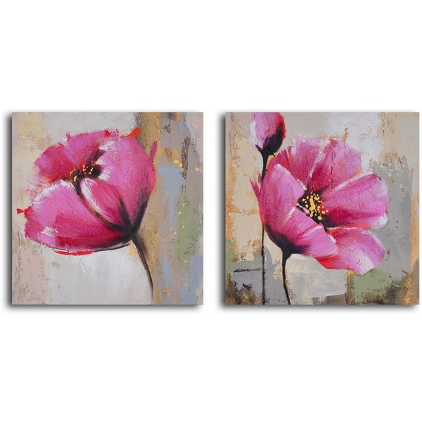 "Hand Painted ""Change of Heart Poppies"" Canvas Wall Art"