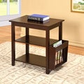 Cappuccino Wooden End Table with Magazine Holder