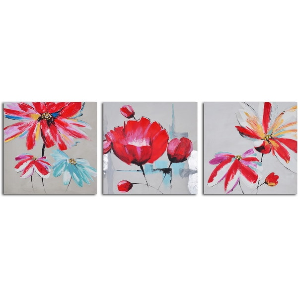 Hand-painted 'Floral Relations Triptych' Canvas Wall Art