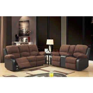 Two-tone Chocolate Double Reclining Sofa Rider