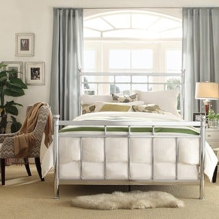 Bella Contemporary Silver Queen/Full Chrome Bed