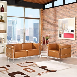 Charles Grande Leather Arm Chair and Loveseat Set