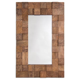 Selections by Chaumont Palma Rectangular Warm Cocoa Brown Cubic Decorative Mirror