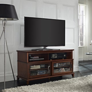 Altra Deacon Madison Cherry TV Console with Sliding Glass Doors