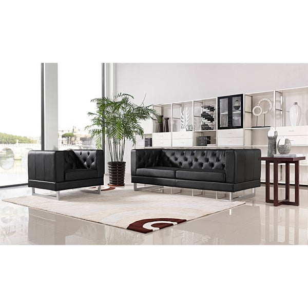 DG Casa Allegro Black Tufted Sofa and Chair Set