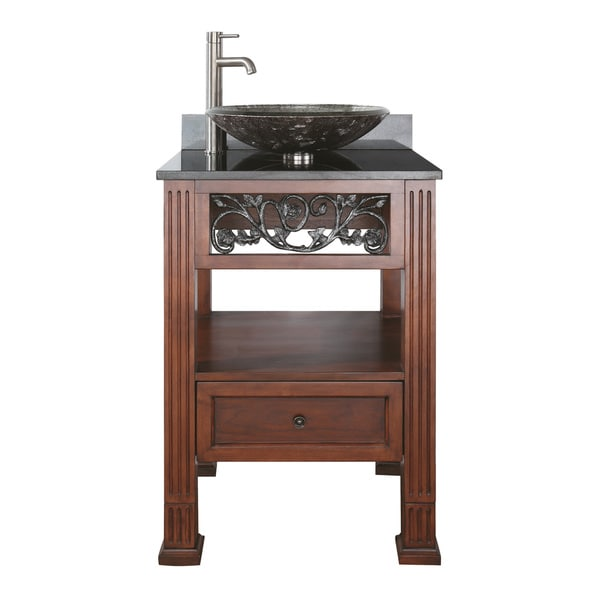 ... 24-inch Single Vanity in Dark Cherry Finish with Vessel Sink and Top