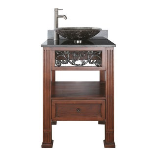 Avanity Napa 24-inch Single Vanity in Dark Cherry Finish with Vessel Sink and Top