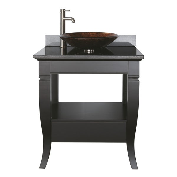 ... Milano 30-inch Single Vanity in Black Finish with Vessel Sink and Top