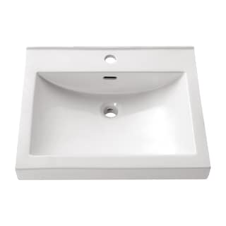 Avanity Rectangular 21.7-inch Semi-recessed White Vessel Sink