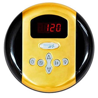 SteamSpa Control Panel with Time and Temperature Presentsin Polished Brass