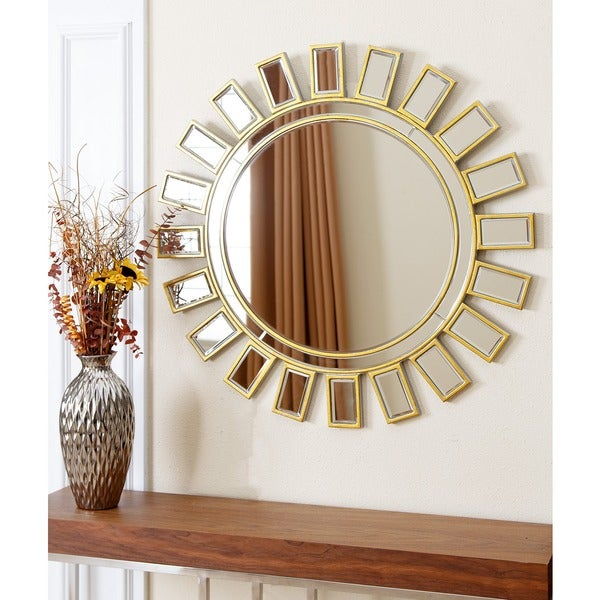 Abbyson living 39 sunburst 39 round wall mirror 16145569 for Large round mirror for living room