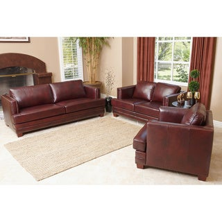 Abbyson Living 'Fulton' Burgundy Leather 3-piece Sofa Set