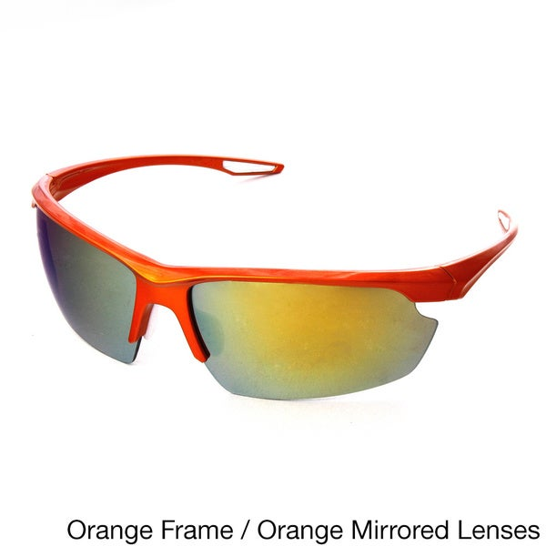 Hot Optix Mens Large Sport Wrap Sunglass with Mirrored Lenses