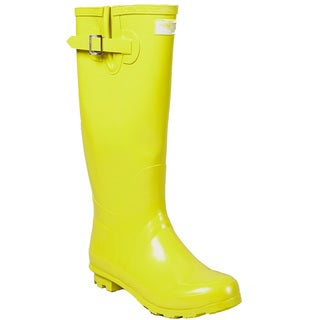 Women's Yellow Gold Mid-calf Rubber Rain Boots