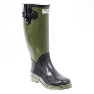 Women's Olive and Black Mid-calf Rubber Rain Boots