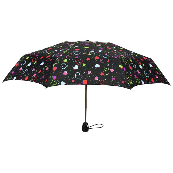 Leighton 'Francesca' Heart Print Compact Umbrella