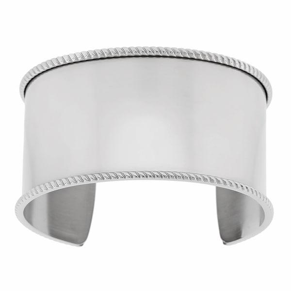Stainless Steel Raised Textured Edge Cuff Bracelet