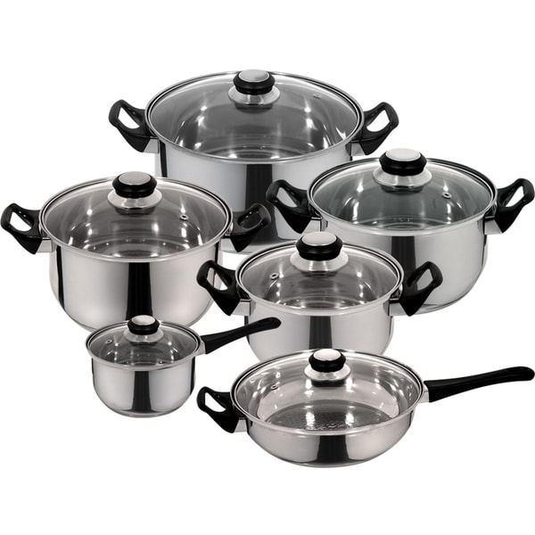 Priminute Monterrey Stainless Steel 12 pieces Cookware Set