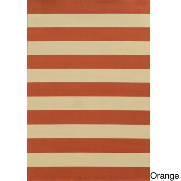 Indoor Outdoor Stripe Polypropylene Rug 3 7 x 5 6