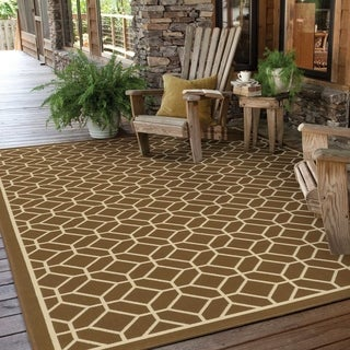 Indoor/ Outdoor Geometric Tile Polypropylene Rug (3'7 x 5'6)