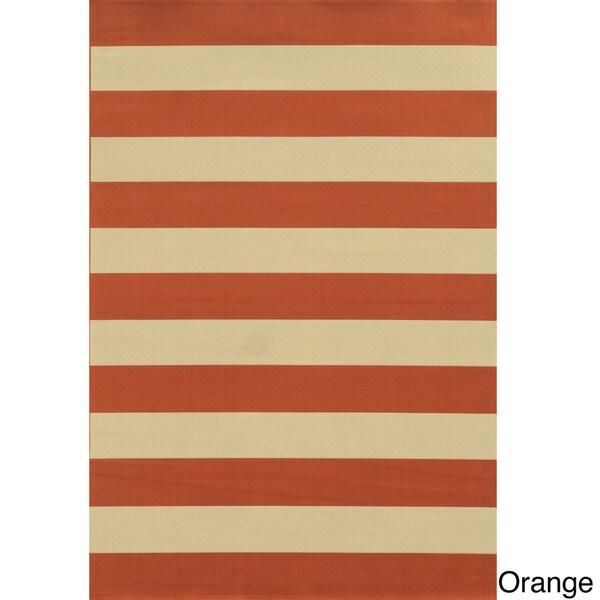 Indoor Outdoor Stripe Polypropylene Rug 5 3 x 7 6