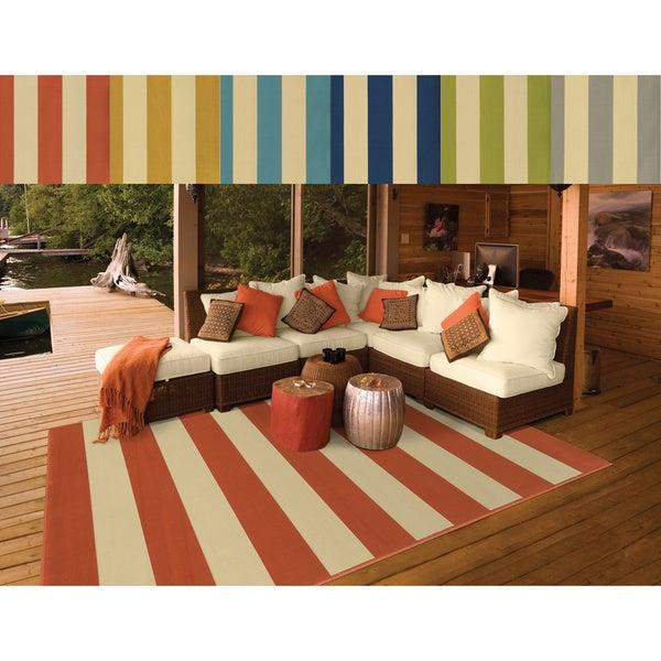 Indoor/ Outdoor Stripe Rug (1'9 x 3'9) (As Is Item)