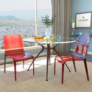 Laos Tranparent Red Modern Dining Chair (Set of 2)
