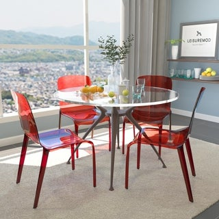 Laos Polycarbonate Transparent Red Dining Chairs (Set of 4)