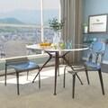 Laos Polycarbonate Transparent Black Dining Chairs (Set of 2)